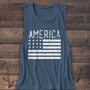 "Tops - 4TH THE JULY MUSCLE TANK ""AMERICA FLAG"""